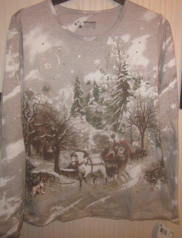 Womens Plus 2x Long Sleeve Top Brown Tan Winter Scene Family Sleigh Ride