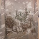 Womens XXLarge Long Sleeve Top Brown Tan Winter Scene Family Sleigh Ride