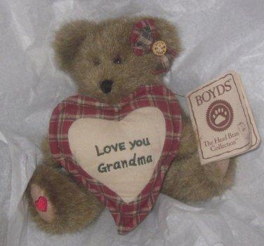 Boyds Bears Grammy Love You Grandma Heart Pillow