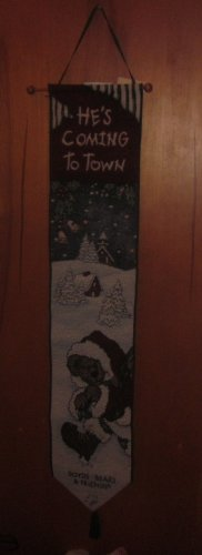 NWT Boyds Bears Bell Pull Christmas Tapestry He's Coming To Town
