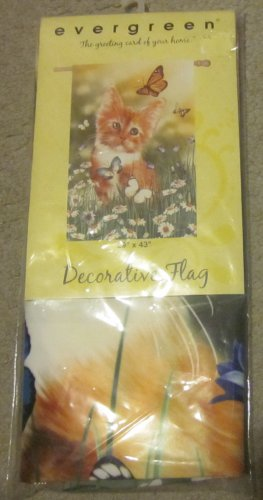 NIP Evergreen Garden Flag Wishful Kitten Cat Butterflies Daisies