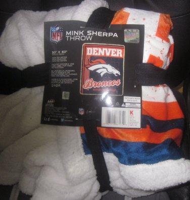NIP NFL Denver Broncos Mink Sherpa Throw 50x60