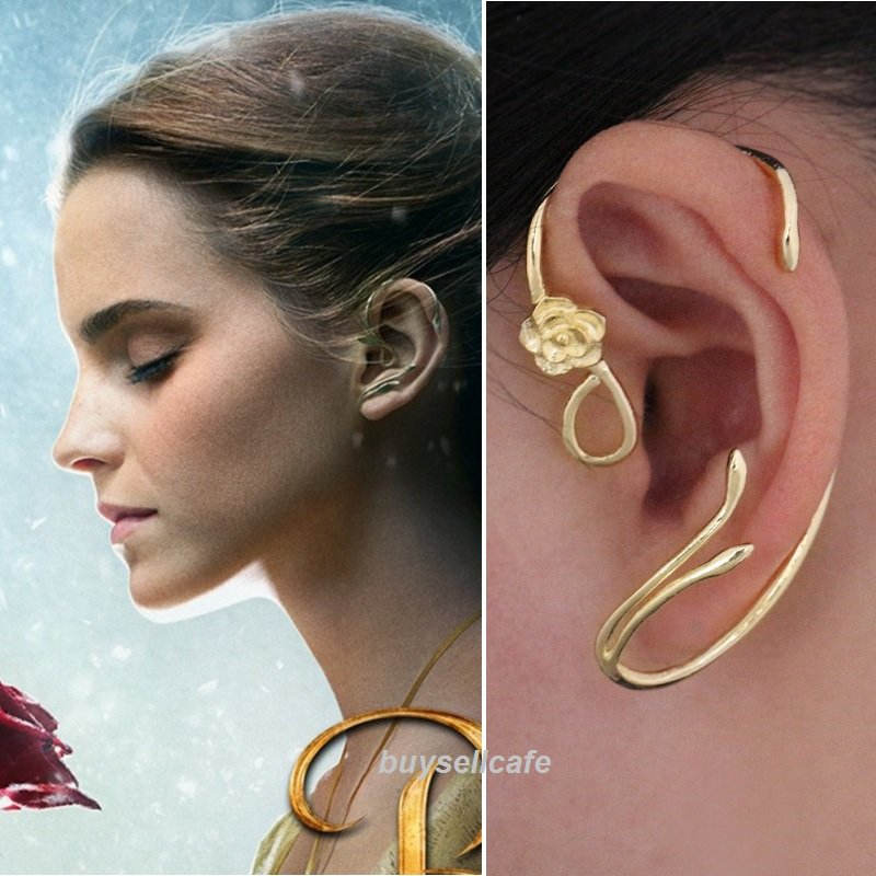Disney BEAUTY And The BEAST Belle ROSE EARRINGS Ear Cuff Gold Plated Cosplay RARE