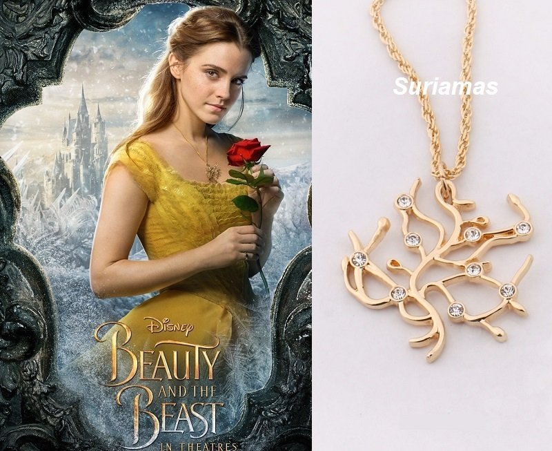 Disney BEAUTY And The BEAST Belle ROSE Tree RoseTree Gold Plated Necklace Cosplay