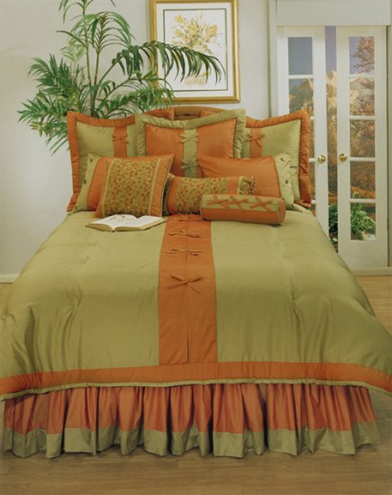 4pc Bow Knot Asian Red Gold Zen Bedding Set Full