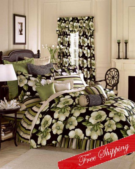 Southern Magnolia Floral Comforter Set Queen