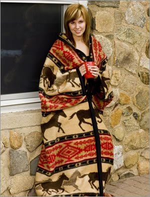 Horse Adventure Southwestern Zippered Robe Blanket Body