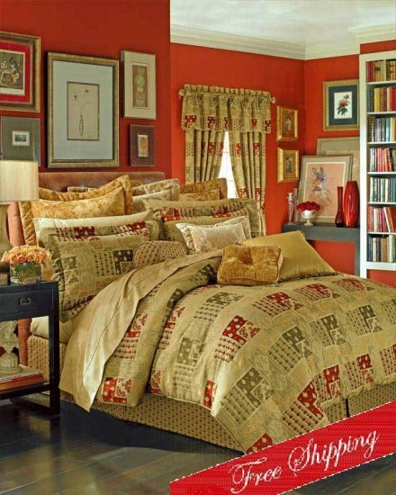 4PC Spiced Ginger Chenille Jacquard Comforter Set QUEEN