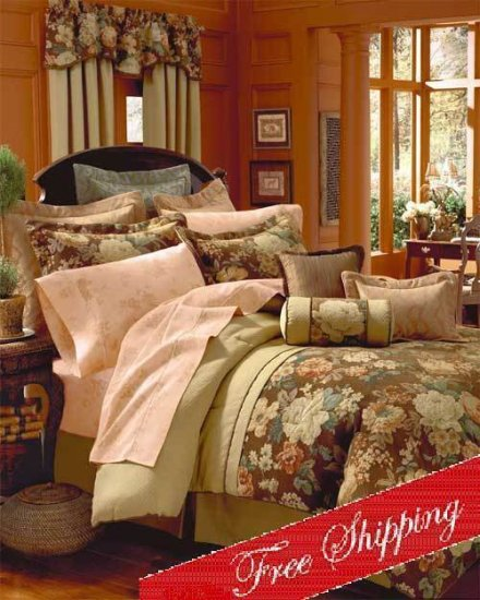 4PC Debussy Floral English Garden Comforter Set KING