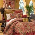 "4PC Moroccan RED Dalyan Paisley CAL KING 15"" Drop Comforter CSCK4650"