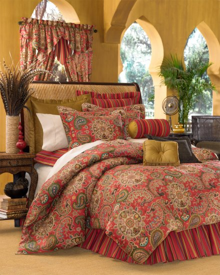 4pc Moroccan Red Dalyan Paisley Queen Comforter