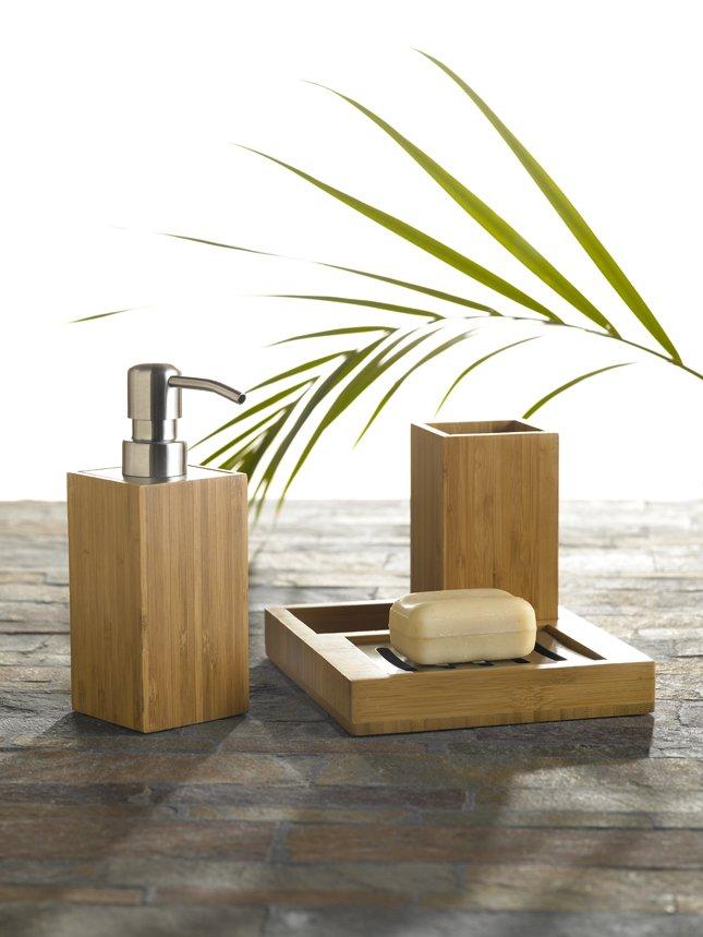 3pc natural bamboo body & bath tropical bath accessory set