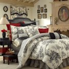 """BOUVIER Black & White French Toile Comforter TWIN 15"""" CST2950"""