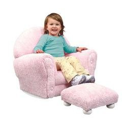 Pink Chenille Rocker with Ottoman Set