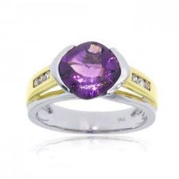 14KT Two Tone White Yellow Gold Amethyst Diamond Ring