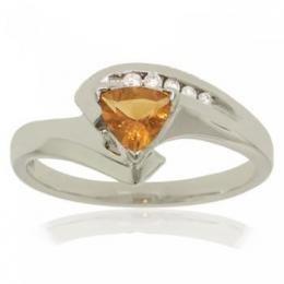 10KT White Gold Bypass Ring Trillion Citrine Diamond