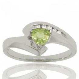 Solid 10KT White Gold Bypass Ring Green Peridot Diamond