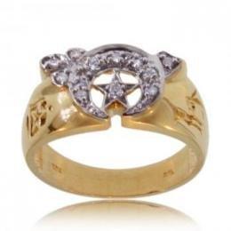 10KT Yellow Gold Diamond Masonic Shriner Mens Ring Sz10