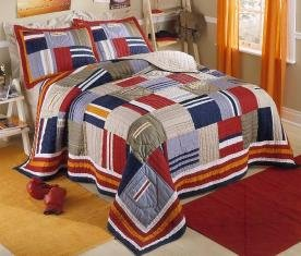 Ronnie Patchwork Prewashed Cotton Twin Quilt with Pillow Sham