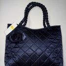 NWT Pataya Fashion Thai Silk Tote Bag Long handle Large Navy Blue