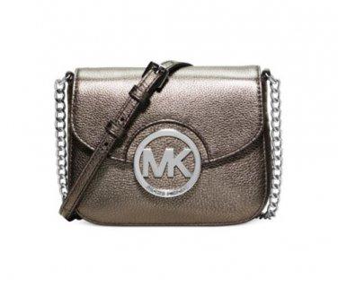 NWT Michael Kors Fulton Small Leather Crossbody Messenger Handbag Gunmetal