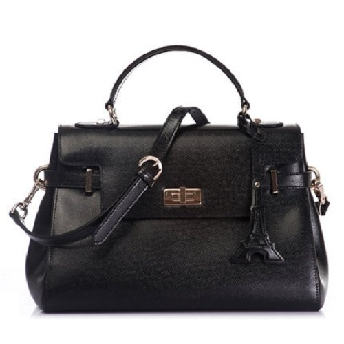 Marino Orlandi Crossgrain Leather Medium Shoulder Handbag Satchel Tote Bag  with hardware