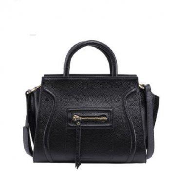 NWT Marino Orlandi Pebbled Leather Medium Luggage Tote Shoulder Handbag Black