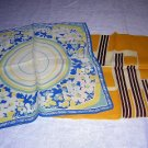 2 colorful pocket hankies or puffs unisex or crafts vintage ll1709