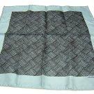 Small silk twill scarf front roll hem gray teal ll1812