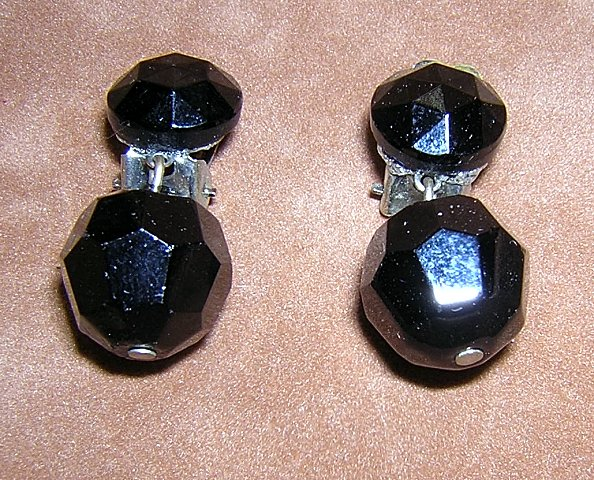Faceted glass ball drop earrings clip backs West Germany vintage jewelry ll2039