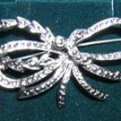 Faux marquisite silver tone bow brooch pin ll1990