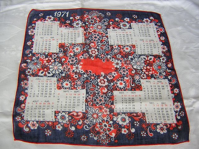 1971 Cotton flower power calendar hanky red white blue ll1670