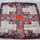 1971 Cotton flower power calendar hanky red white blue ll1670