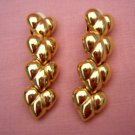 Courréges gold plate puffed heart dangling earrings clip backs vintage jewelry ll2035