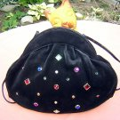 Stuart Weitzman luxury black suede leather vintage handbag purse bejeweled ll1598