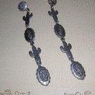 J J long dangling southwest cactus earrings pewter pierced vintage jewelry ll2033