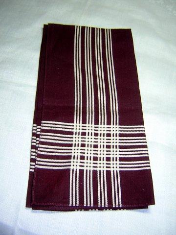 Man's vintage hankerchief dark burgundy white stripe ll1666