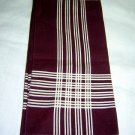 Man's vintage hankerchief dark burgundy white stripe ll1666