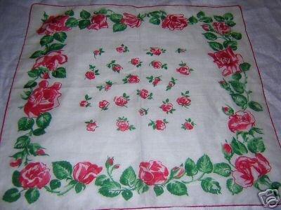 Vintage red roses cotton hanky handkerchief rolled hem ll1664