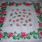 Vintage red roses cotton hanky handkerchief rolled hem ll1664