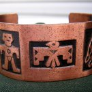 Copper cuff bracelet with native American motif vintage ll1928