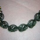 Pewter color leaf link bracelet 1950s era vintage ll1827