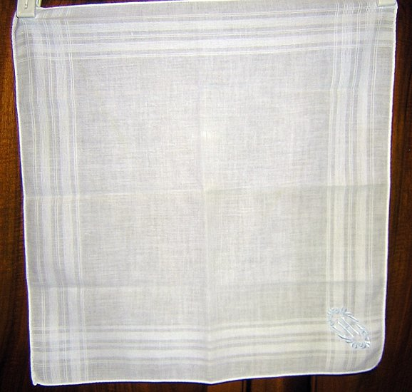Fine cotton man's hankerchief blue monogram rolled hem ll1662