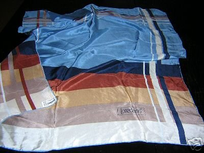 Lush Loredano silk scarf stripes blue solids large 31 inches ll1800