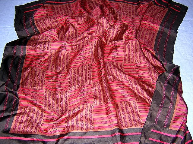 Belts and chains print silk scarf unused vintage large ll1799