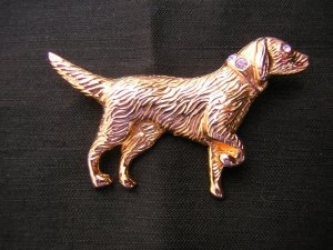Gold-plated pointer dog rhinestones pin brooch perfect ll1983