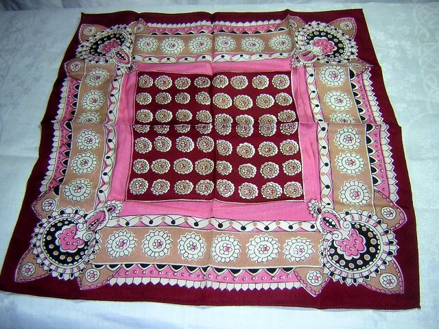 Dramatic silk pocket puff or hanky wine pink tan unisex vintage ll1698