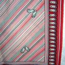 Vintage scarf white gloves diagonal stripes polyester ll1874