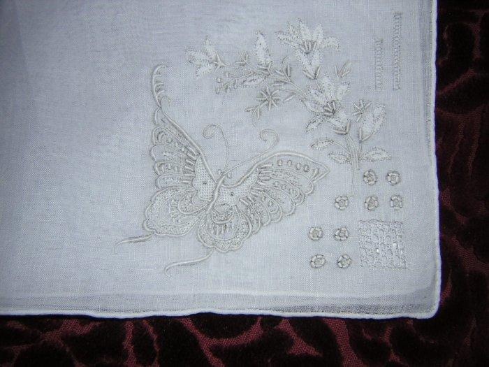 Madeira embroidered linen hanky butterflies appenzel ll1661