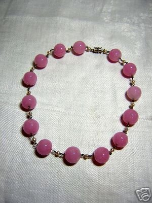 Glass bead choker necklace large rose quartz balls vintage jewelry ll2044